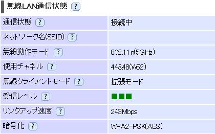 MainNetwork 親機Aterm WR9500N-子機Aterm WR9500N間 電波状況
