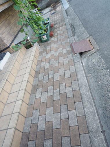 玄関前のインターロッキングブロック洗浄前