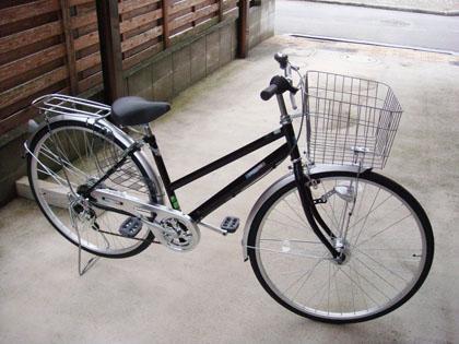 丸石サイクル シェルブール 27インチ 6段変速 LEDオートライト ブラック