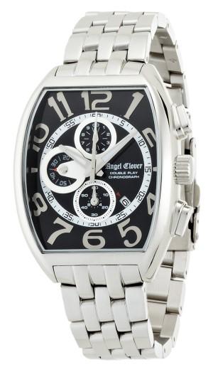 エンジェルクローバー 腕時計 ダブルプレイ ブラック/シルバー文字盤 デイト クロノグラフ DP38SBK メンズ