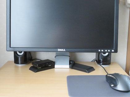 ELECOM 木のスピーカ 2.1W USB ブラック MS-W11UBK 設置完了