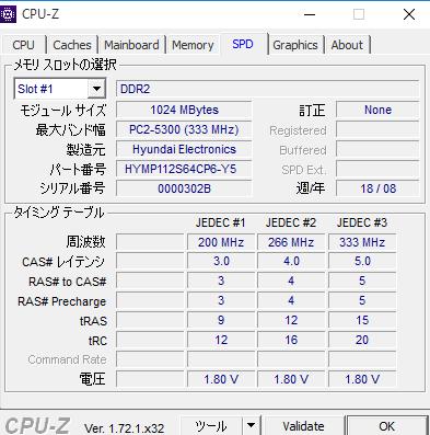 標準メモリのCPU-Z値
