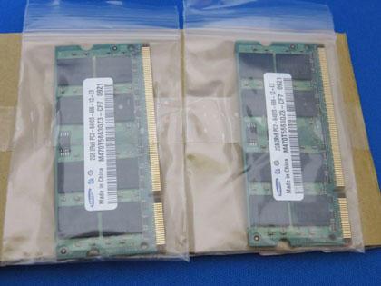 ヤフオクで落札したノートPC用メモリ梱包状態