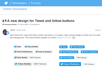 A new design for Tweet and follow buttons