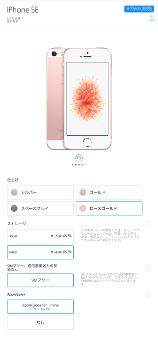 Appleストア iPhone SE 注文内容