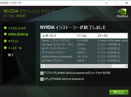 GeForce Driver 358.87 WHQL アップデート完了